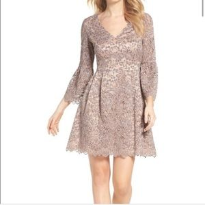 Eliza J Lace Overlay With Bell Sleeves Dress